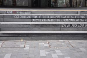 Poetry by Robert Sullivan carved into the Auckland Library steps. Photo credit: Tom Moody