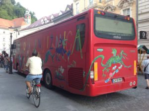 The Friday night book bus, Slovenia. Photo credit: Claire Squires.