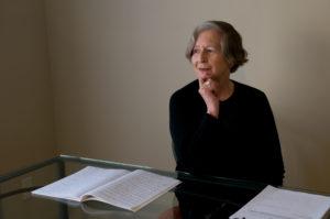 Elizabeth Smither at her desk. Photo credit: Liz March.