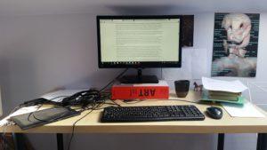 Pip Adam's desk.